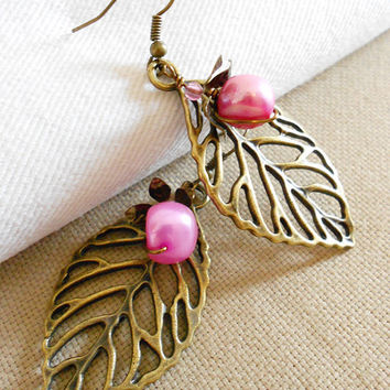 Mother's Day Sale RASPBERRY Woodland Nature Inspired Earrings