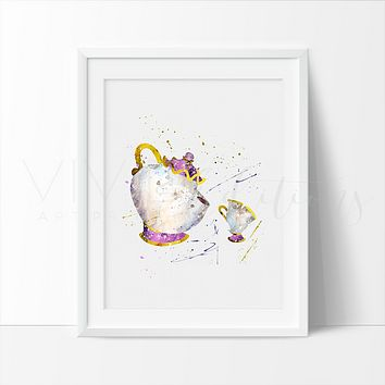 Mrs. Potts & Chip, Beauty and the Beast Watercolor Art Print