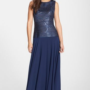 Women's JS Collections Sequin & Ribbon Piped Gown
