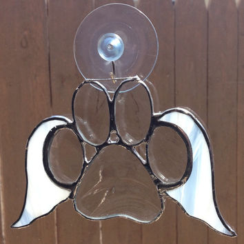 Clear Stained Glass Paw Print With Angel Wings Suncatcher