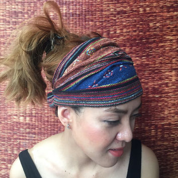 Tribal Headband Boho festival gypsy styles woven Geometric Ethnic Fabric Bohemian Hippie Nepali Yoga Head wrap gift in orange brown blue