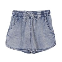 Snow Wash Denim Shorts with Drawstring Waist