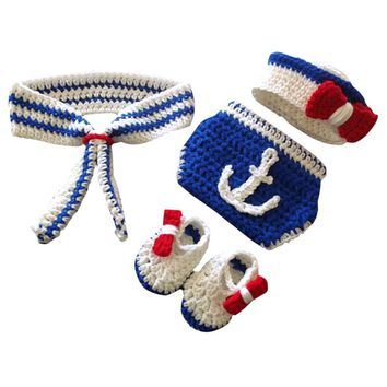 Newborn Baby Photography Prop Sailor Infant Boys Girls Crochet Knit Costume Handmade Hat+Shoes+Pants+Scarf 4pcs/Set Outfit 0-4M