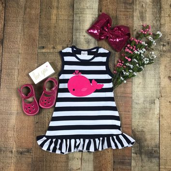 BLOW OUT! RTS Girls Nautical Hot Pink Whale Dress