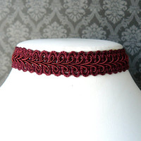 Burgundy Lace Choker, Maroon Goth Choker, Gothic Jewelry, Vintage Style Ribbon Chocker, Victorian Inspired Gimp Choker Necklace