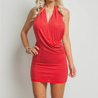 Silver Studded Halter Dress in Red