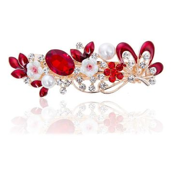Novelty Rhinestone Crystal Butterfly Flower Hair Clip