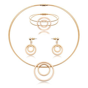 A Suit of  Golden Circle Necklace Bracelet and Earrings