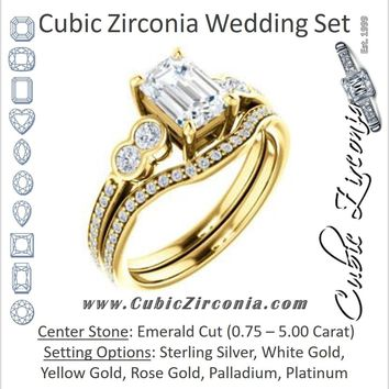CZ Wedding Set, featuring The Eneroya engagement ring (Customizable Enhanced 5-stone Emerald Cut Design with Thin Pavé Band)