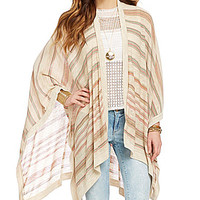 So It Is Striped Poncho Cardigan - Pink Stripes