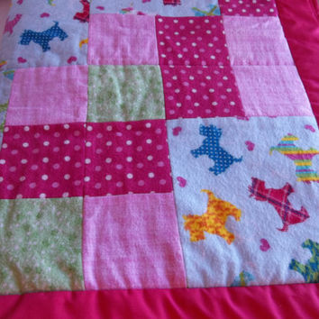 Scotty Dog Flannel Baby quilt, Pink Baby Girl Bedding, Scotty dog baby quilt, Flannel Baby bedding