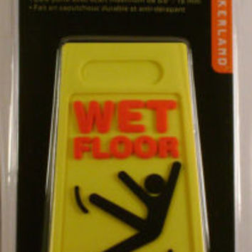 Lot of 2 Yellow Wet Floor Doorstop Wedge Rubber Anti Slip Hazard Danger
