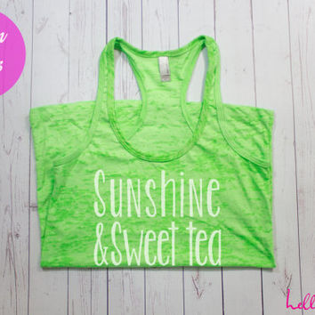 Sunshine and Sweet Tea Tank Top. Southern Tank Top. Southern Belle. Workout Tank. Running Shirt. Workout Clothes. Gym Clothes. Cute Tank Top