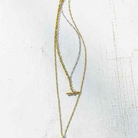 Etched Arm High/Low Necklace- Gold One