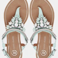 River Island Reality Green Coloured Gem T Bar Flat Sandals