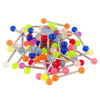 "20 Glow-in-the-Dark Barbells - 316L Surgical Steel - 14ga-5/8""(16 mm)"