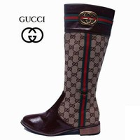 GUCCI Fashion Leather High Boot Flats Shoes-1
