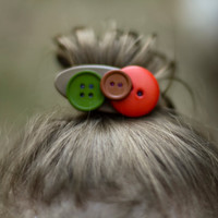 Button Barrette, Fall Barrette, Autumn Barrette, Fall Color Barrette For Girls And Toddlers Olive Green Orange And Brown Buttons