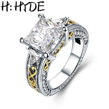 H:HYDE New Arrival Beautiful Wedding Rings Princess Cut White Zircon Paved Clear Crystal Ring Gold Letter Setting Women Bijoux