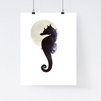Seahorse print, nautical art print, nursery decor, modern wall art, home wall decor, galaxy illustration, apartment art, animal print,simple