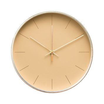 """Minimalist Design Contemporary Cream Palette 9.5"""" Non-Ticking Silent Wall Clock with Rose Gold Frame (Latte)"""