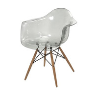 Beckett Grey Transparent Clear Chair with Wood Legs