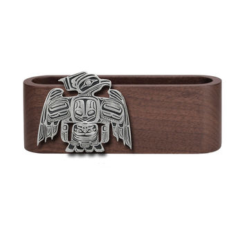 Wooden Business Card Holder with Fine Pewter Thunderbird Emblem
