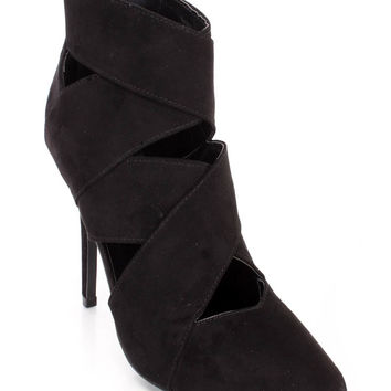 Black Single Sole Ankle Booties Faux Suede