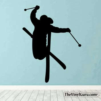 Skiing Wall Decal - Ski Sticker #00008