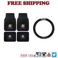 Licensed Official New NCAA LSU Tigers Car Truck Front Back Floor Mats Steering Wheel Cover