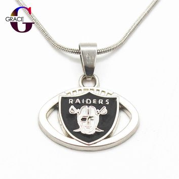 Fashion Oakland Raiders Team Charms Football sports Pendant necklace With Snake Chain(45+5cm) Necklace For Women Men DIY Jewelry