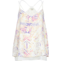 River Island Womens White print double layer cami top