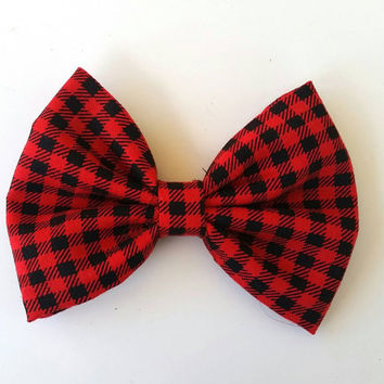 Girls handmade red checkered hounds tooth fabric hair bow, girls handmade hair bow, girls hair clip, fabric hair bow, hair clip, plaid bow