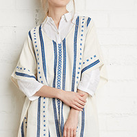 Embroidered Cotton Poncho Top