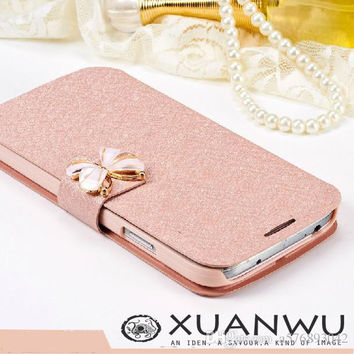 luxury bowknot Case For samsung galaxy a3 a5 s4 i9500 s3 i9300 s5 Cover capa para coque Leathe filp Magnetic fundas cover
