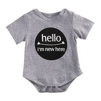 Hello I`m new here  Newborn Baby Boy Girl Toddler  Clothes Short Sleeve  Romper Jumpsuit Playsuit Outfits