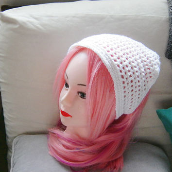 Women's White Crochet Hair Kerchief