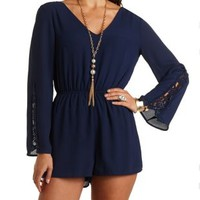 Crochet Bell Sleeve Romper by Charlotte Russe - Navy