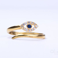 """Gold Evil eye ring, sterling silver evil eye ring, gold ring, adjustable ring, stack ring, bridesmaid gift, cz ring, evil eye jewelry,""""Beroe"""