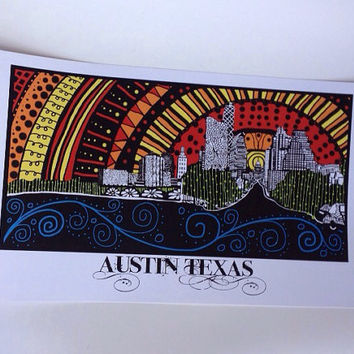Austin Texas inspired illustrated Skyline 8.5x14 poster