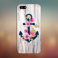 Navy Blue Anchor x Flowers  x Wood Design Case for iPhone 6 6 Plus iPhone 5 5s 5c iPhone 4 4s Samsung Galaxy s5 s4 & s3 and Note 4 3 2