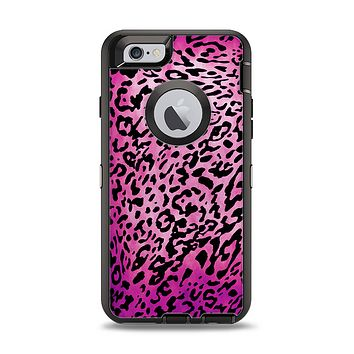 The Hot Pink Cheetah Animal Print Apple iPhone 6 Otterbox Defender Case Skin Set