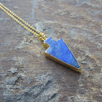 Arrowhead Pendant Necklace, Blue Arrowhead Pendant, Blue Agate gemstone Necklace, Gift for women, gifts for her, Blue Agate , Druzy Jewelry