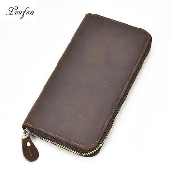 Men's Zip Around crazy horse leather long wallet with inner zipper coin pocket cow leather pocket purse with card holder clutch