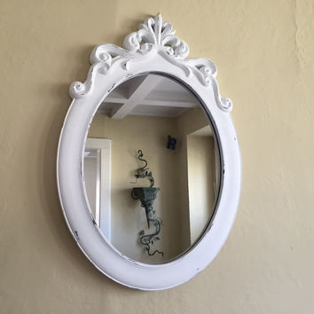 Oval mirror large, white, ornate shabby chic