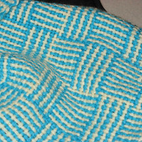 Hand woven scarf, Turquoise and Cream Basket weave to keep you warm