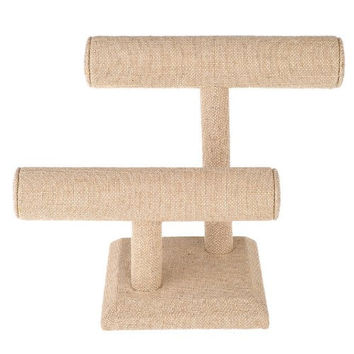 2 Tier Beige Linen T-Bar Bracelet Watch Jewelry Stand Display