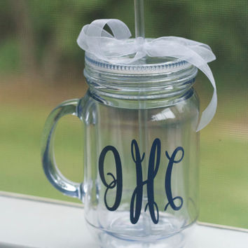 Monogrammed Mason Jar Tumbler- Fancy Monogram. Mason Jar. Mason Jars. Beach Tumbler. Tumblers. Tumbler. Cup. Drink Container. Monogrammed.