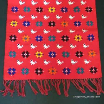 Vintage Hand Embroidered Table Runner, Handmade Folk Art Table Centerpiece, Red / Birds / Flowers