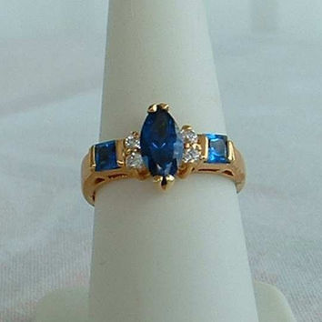 Lind Blue Sapphire Rhinestones Ring Size 7.5 Navette Marquise 14K HGE Lindenwold Jewelry